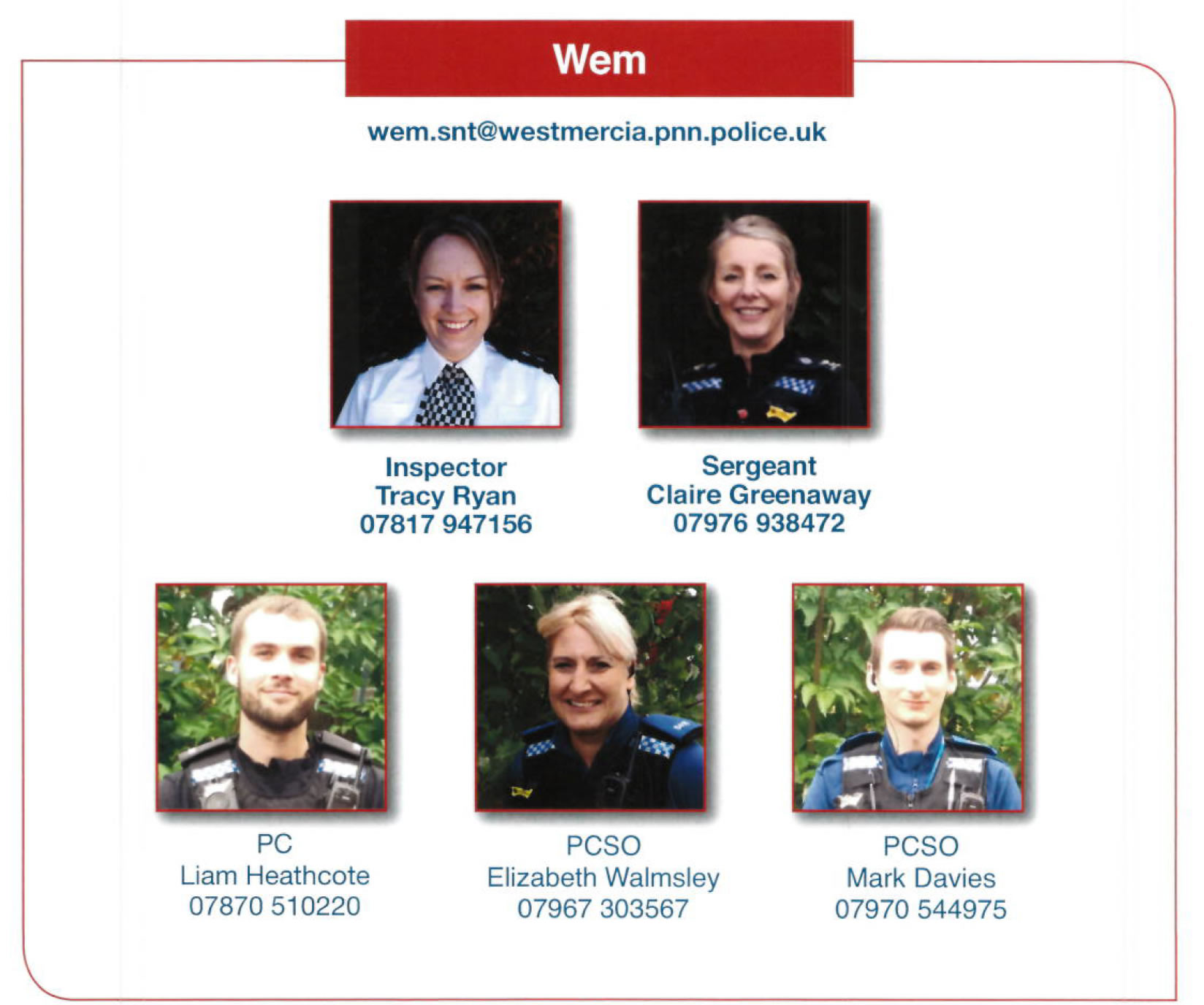 Wem Safer neighbourhood Team Members